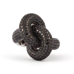 Absolutely Fat Knot Ring Vitguld Black Diamonds