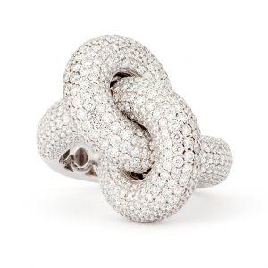 Absolutely Fat Knot Ring Vitguld White Diamonds