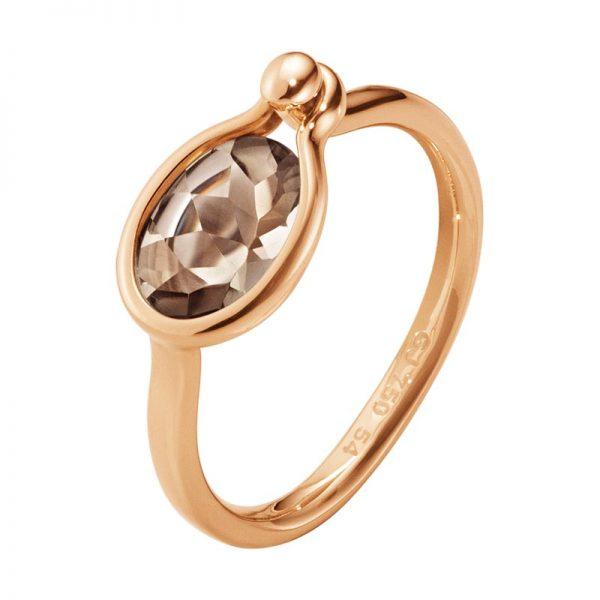 Georg Jensen Savannah Ring Small 18 K Roséguld Med Rökkvarts