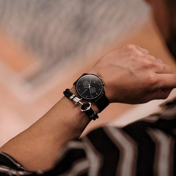 Nylon Phrep armband svart/silver