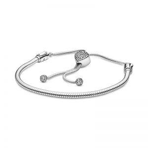 Pandora Moments Pavé Heart Clasp Slider Ormkedjearmband fri frakt på Jewelrybox.se