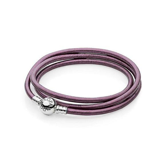 Moments Triple Leather Bracelet Purple från Pandora