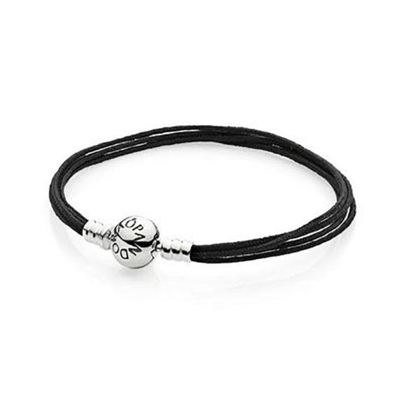 Moments Black Multi-String Bracelet från Pandora