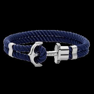 Nylon Phrep Armband Marinblå/Silver