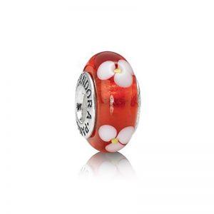 PANDORA Röd Muranoblomma Glasberlock