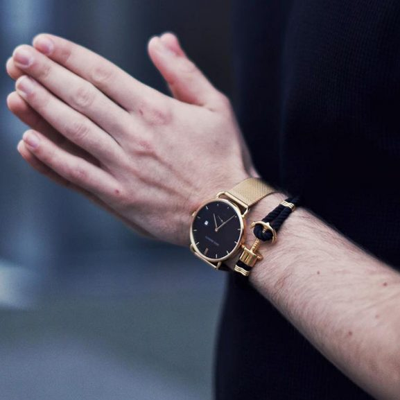 Nylon Phrep Armband Svart/Guld