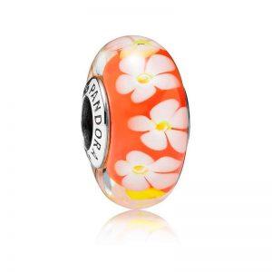 PANDORA Tropisk blomma Glasberlock