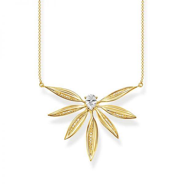 Stort Halsband Glittrande Blad Guld från Thomas Sabo