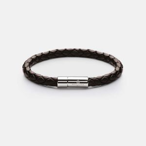 Leather Bracelet Silver - Dark Brown från Skultuna