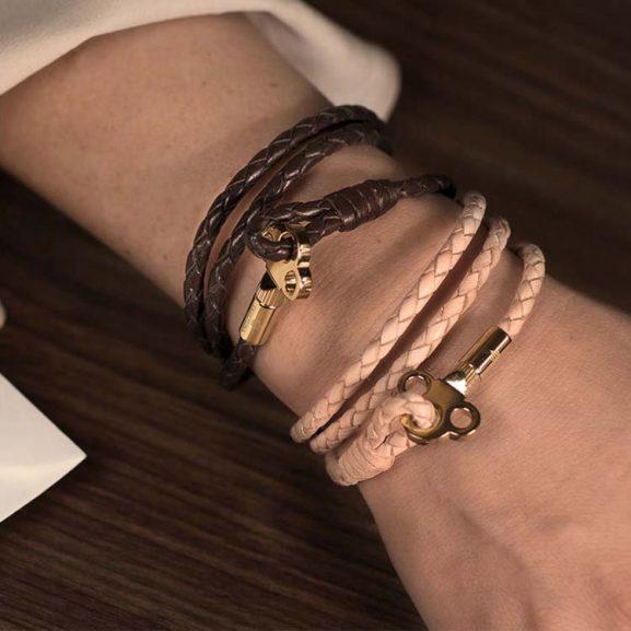 The Key Leather Bracelet Silver - Black från Skultuna