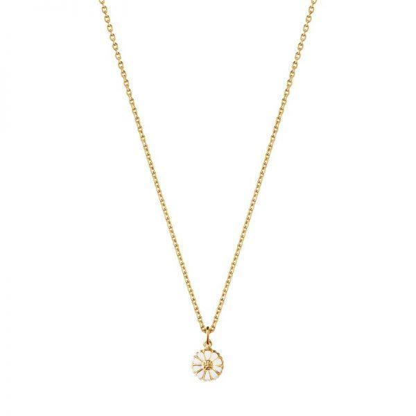 Daisy Mini Halsband Guldpläterat Silver med Vit Emalj från Georg Jensen