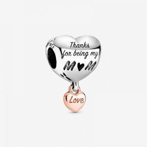 Älskar Dig Mamma Hjärtformad Berlock Rosé från Pandora