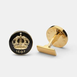 Cuff Links Crown Baroque Black Gold Plated från Skultuna