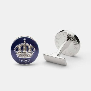 Cuff Links Crown Royal Blue Silver Plated från Skultuna