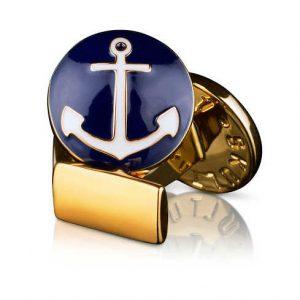 Cuff Links Anchor Gold Blue/White från Skultuna