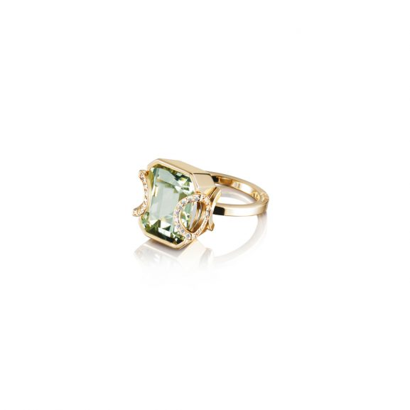 Little Magic Star Ring Green Quartz Guld från Efva Attling