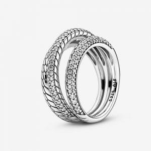 Trippel Pavé Ormkedjemönster Ring från PANDORA