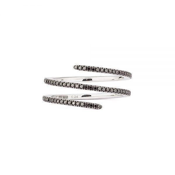 Engelbert Petit Double Spin Ring Vitguld Black Diamonds