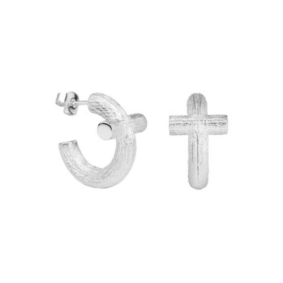 Branch Cross Hoops Silver från Emma Israelsson