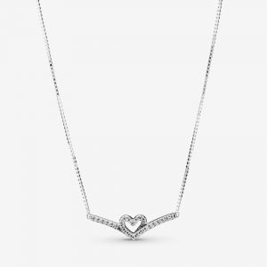 Glittrande Wishbone Heart Collier Halsband från PANDORA