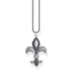 Halsband med Fransk Lilja Svarta Stenar från Thomas Sabo