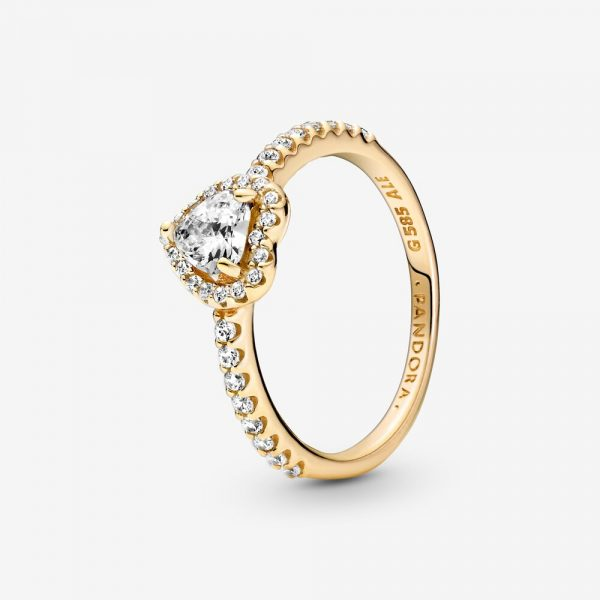 Upphöjda Hjärtan Ring 14K Guld från PANDORA