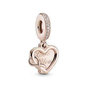Love You Infinity Hjärtformad Hängberlock Rosé från PANDORA