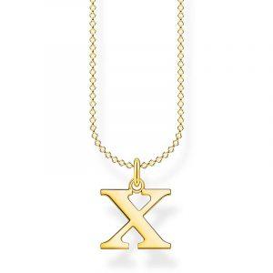 Bokstavshalsband Guld - X från Thomas Sabo