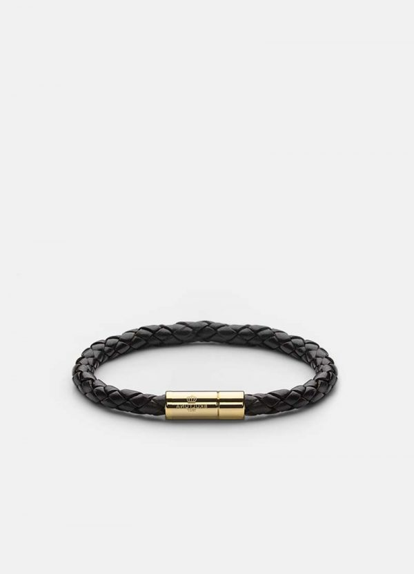 Leather Bracelet Gold - Black från Skultuna